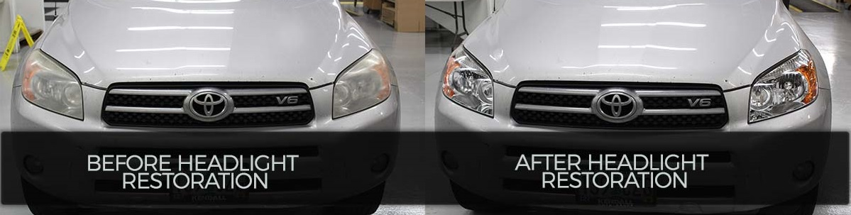 Toyota Rav4 yellowed headlights restored to look new.